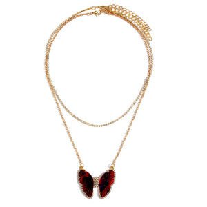 Burgundy Gem Butterfly Multi Necklace
