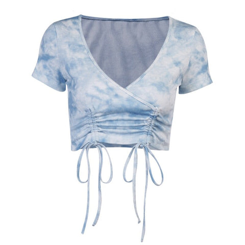 Cora Tie Dye Tie Up Top