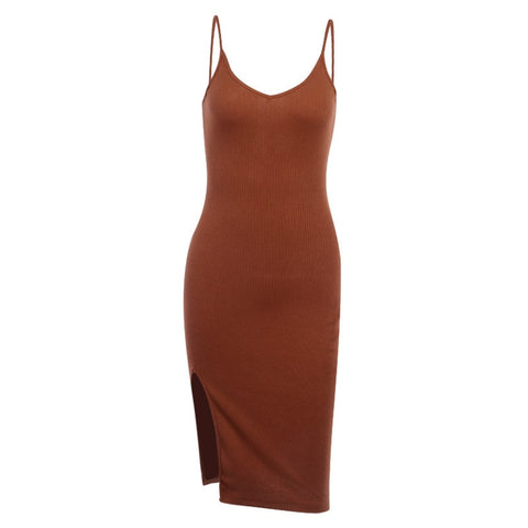 Allison Sand Slit Midi Dress