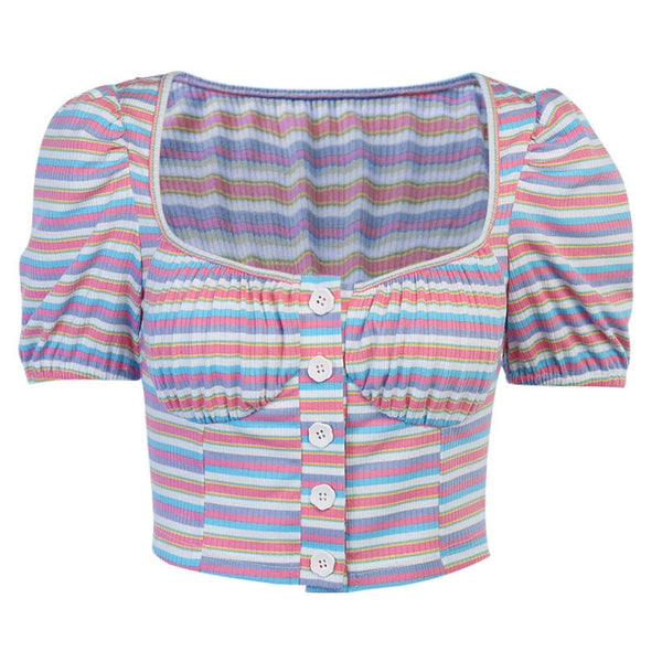 Multi Stripes Rib Button Up Crop Top