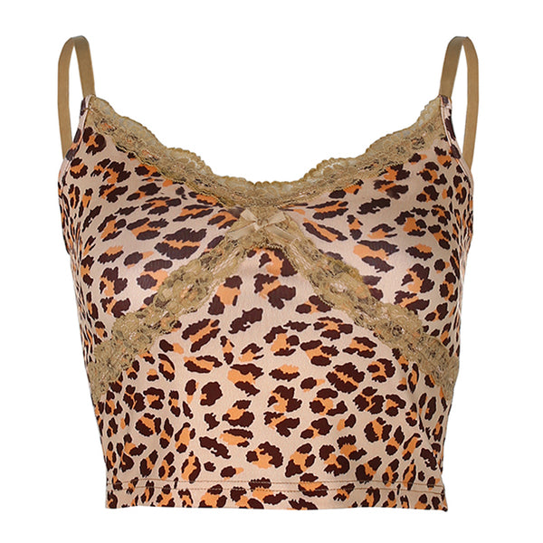 Tan Leopard Print Lace Trim Tank Top