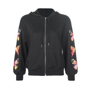 Madison Butterfly Print Hoodie - Black