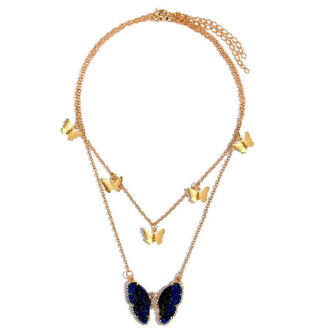 Deep Blue Gem Butterfly Multi Necklace