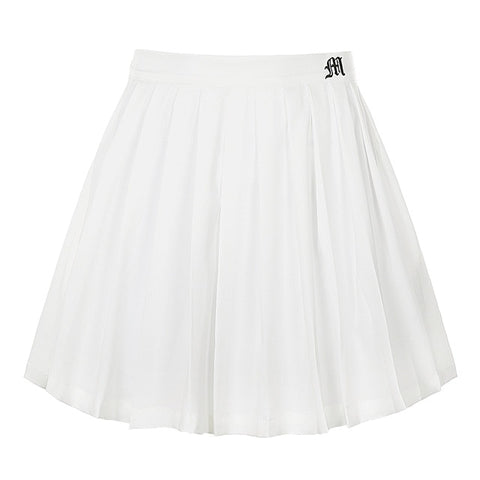 White M Embro Tennis Skirt