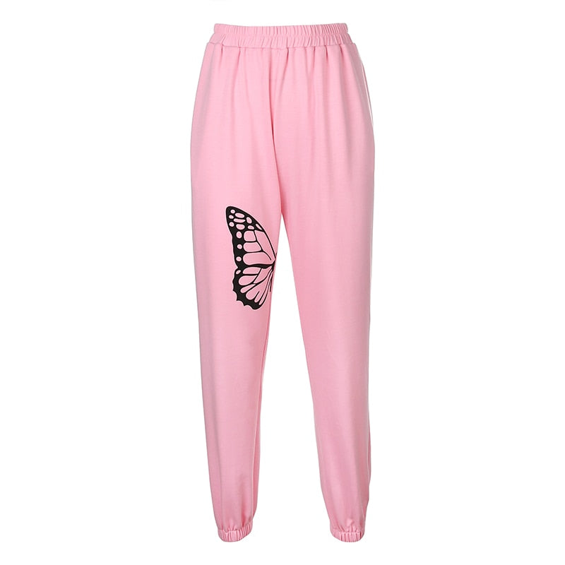 Mellow Pink Butterfly Print Joggers