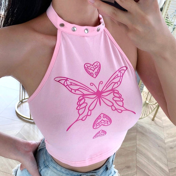 Y2k Butterfly Backless Halter Top