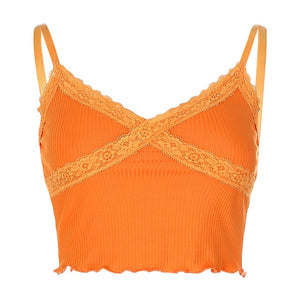 Bella Orange Lace Trimmed Top