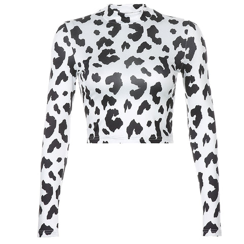 Cow Print Full Neck Crop Top