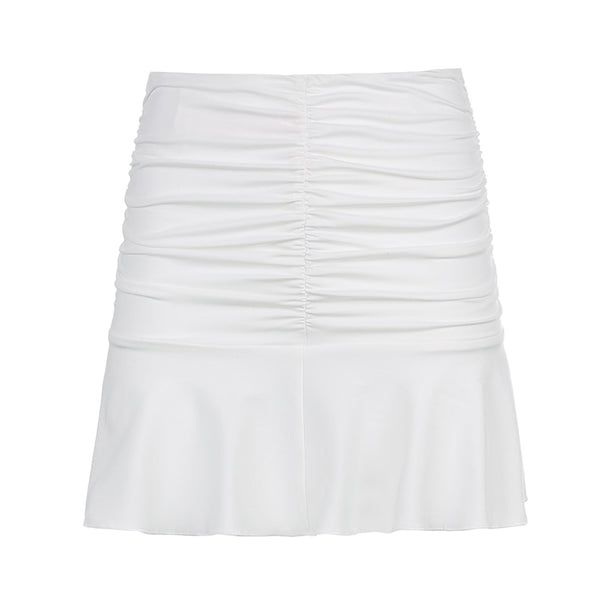 White Ruched Mini Skirt