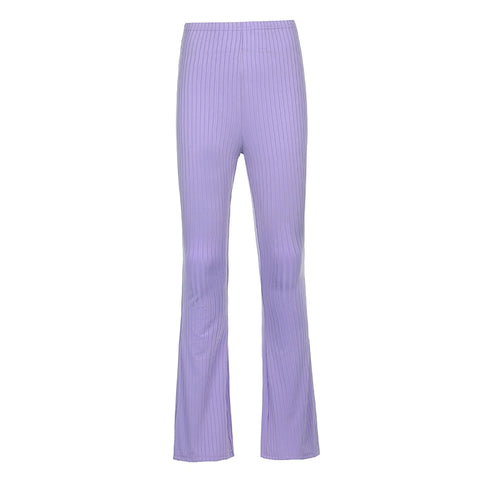 Purple Ribbed Flare Trousers