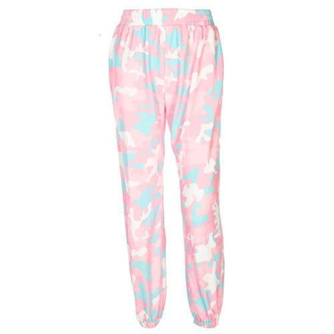 Pink Camo Elasticated Waistband Joggers