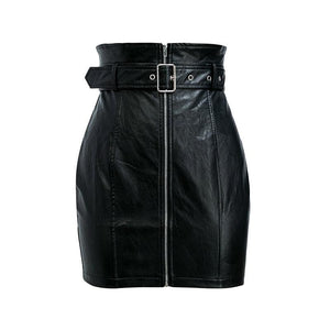 Jet Biker Belted Mini Skirt