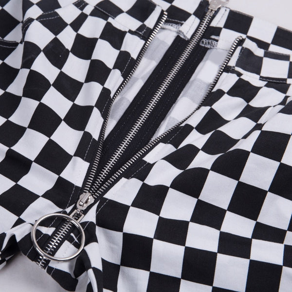 Monochrome Checkerboard Double Zip Down Straight Pants