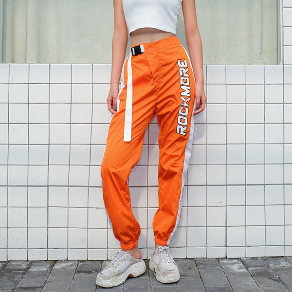 "Orange ""ROCKMODE"" Slogan Buckle Detailed Jogger"