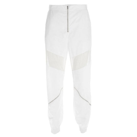 Ice White Mesh & Zip Detailed Shell Joggers