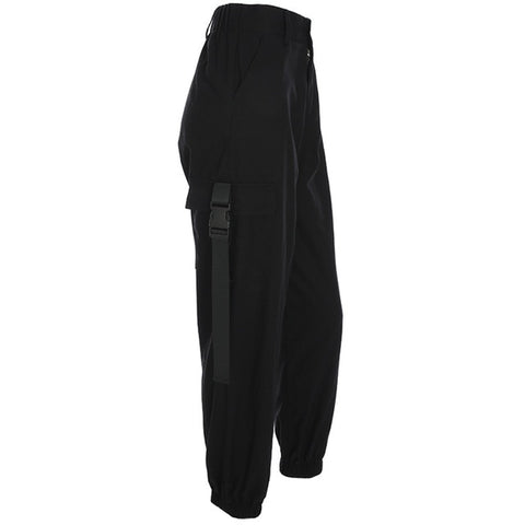 Black Buckle Detailed Pocket Joggers