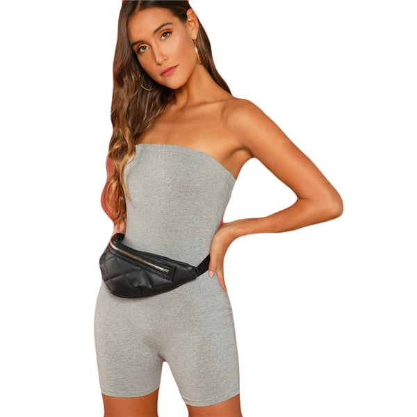 Grey Shape Bandeau Romper