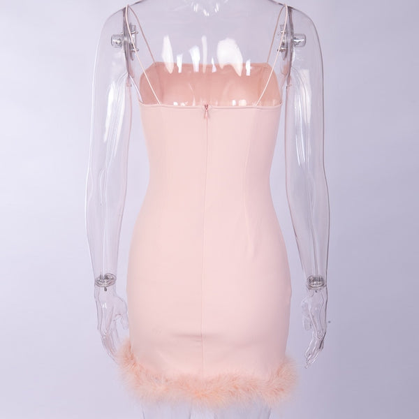 Dusty Pink Fuzzy Fur Trim Bodycon Dress