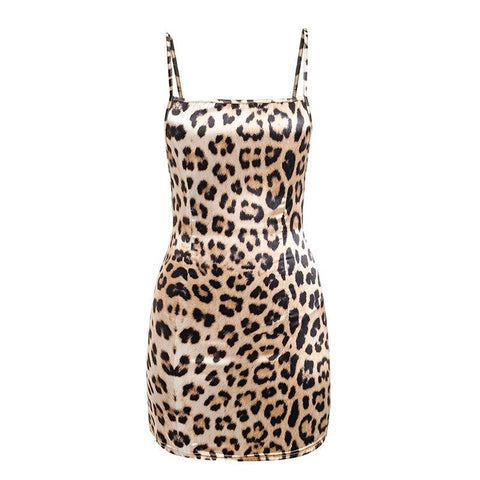 Leopard Print Satin Laced Back Bodycon Dress