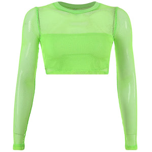 Neon Green Mesh Detailed Crop Top