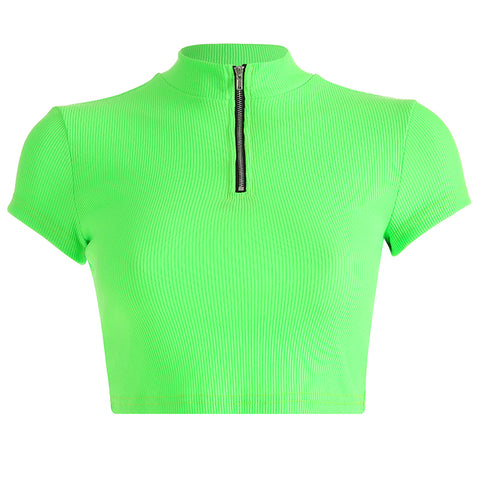 Neon Green Zip Down Crop Top