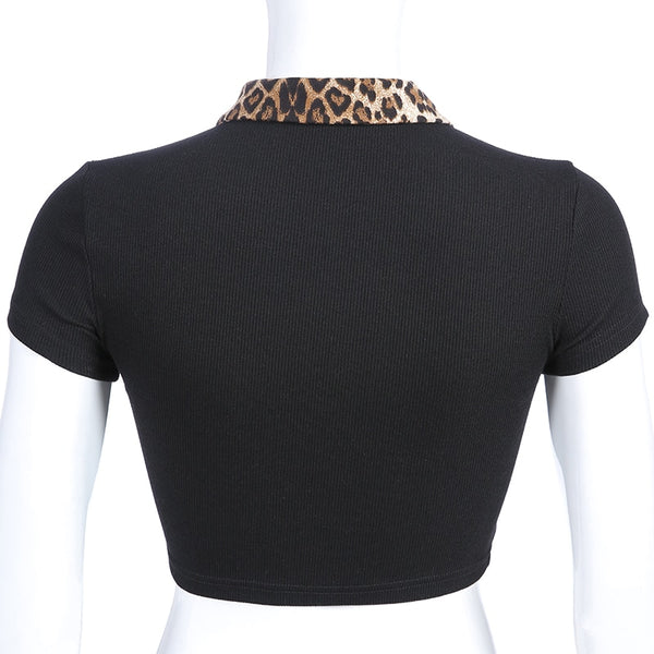 Black Wild Cheetah Button Up Top