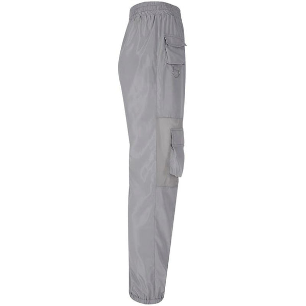 Grey Mesh Panel Pocket Detailed Joggers