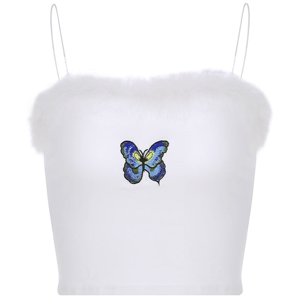 Fuzzy Trimmed Butterfly Crop Top