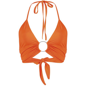 Neon Orange Ring Detailed Halter Bralet