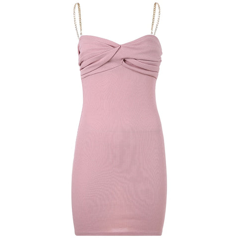 Dusty Pink Gold Chain Ruched Bodycon Dress