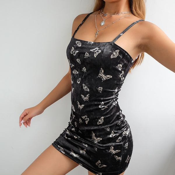 Black Slinky Butterfly Print Bodycon Dress