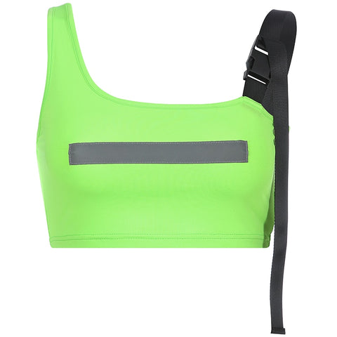 Green Neon Clip Detailed Reflective Strip Crop Top