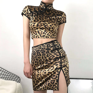 Leopard Print Oriental Side Split Mini Skirt