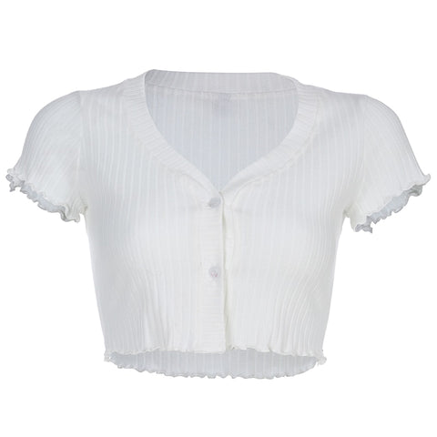 White Deep Neck Button Crop Top