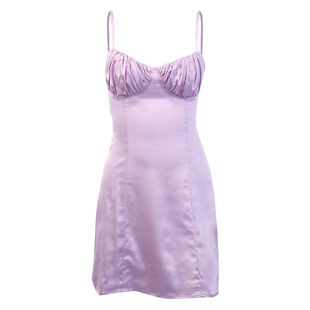 Lilac Silk Ruched Bust Mini Dress