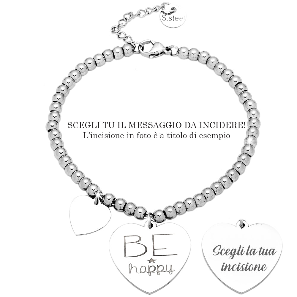 "Bracciale in acciaio inossidabile con incisione - ""Be happy"" - Beloved Gioielli"