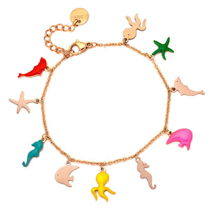 Bracciale SUMMER VIBES con charm smaltati Rose gold - Animali Marini - Beloved Gioielli