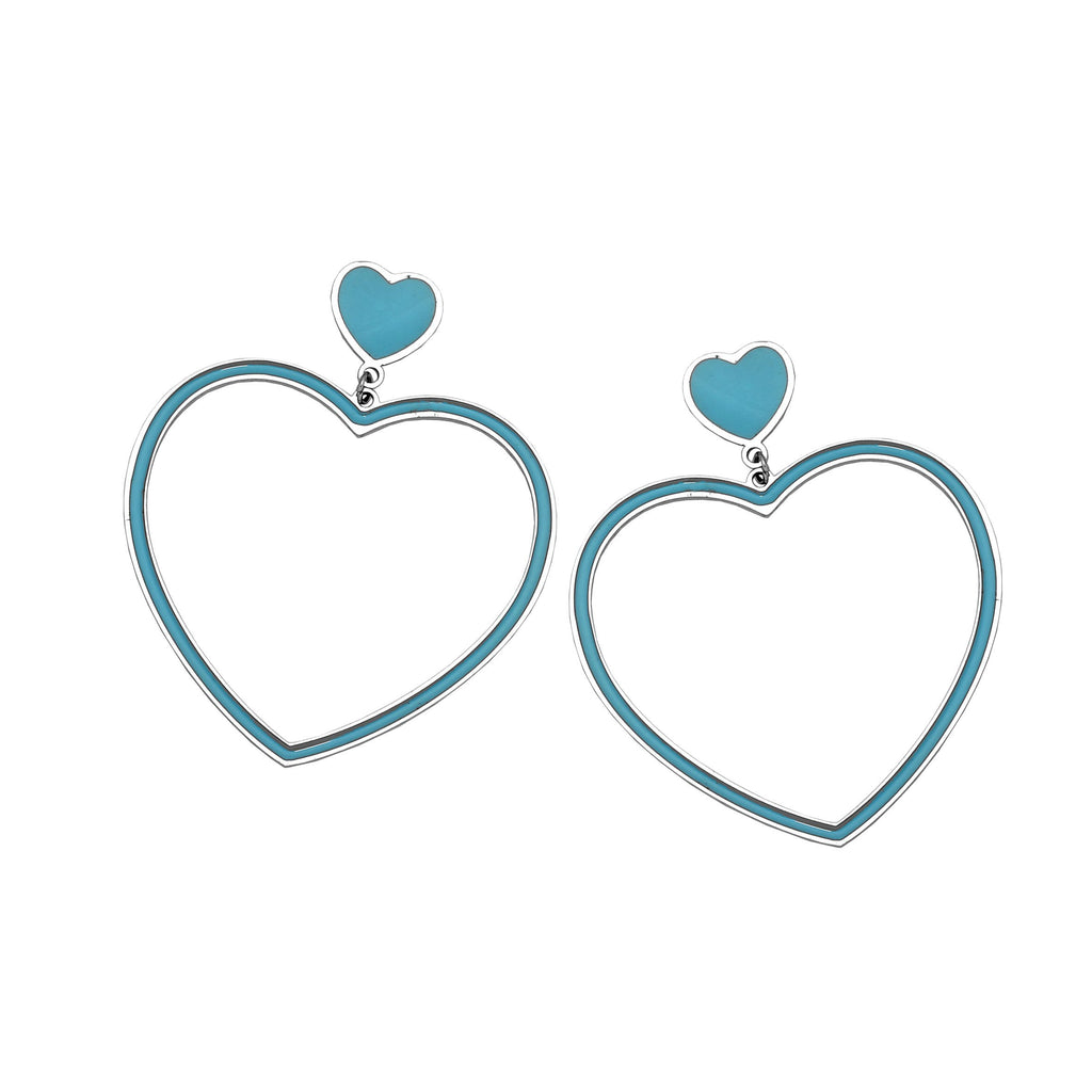 Orecchini Gipsy Color - Cuore Light Blue - Beloved Gioielli
