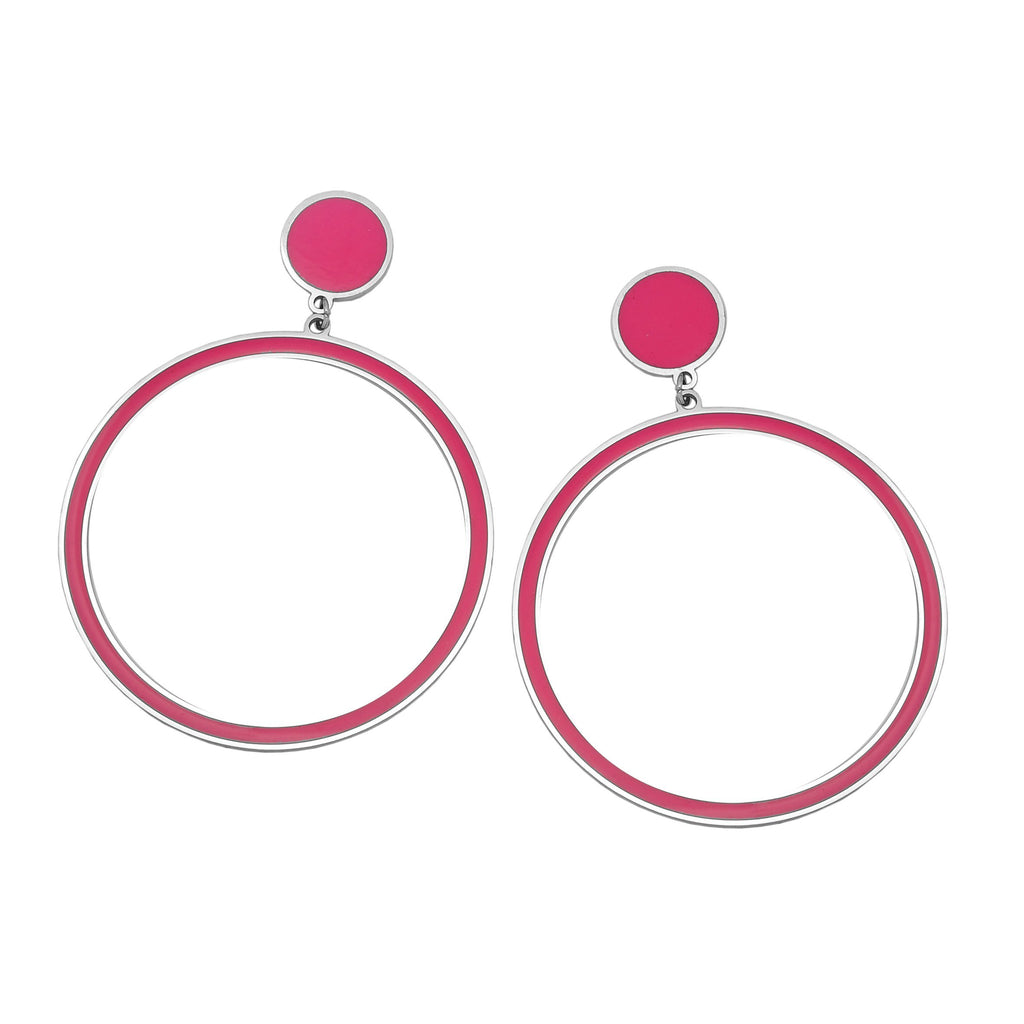 Orecchini Gipsy Color - Round Hot pink