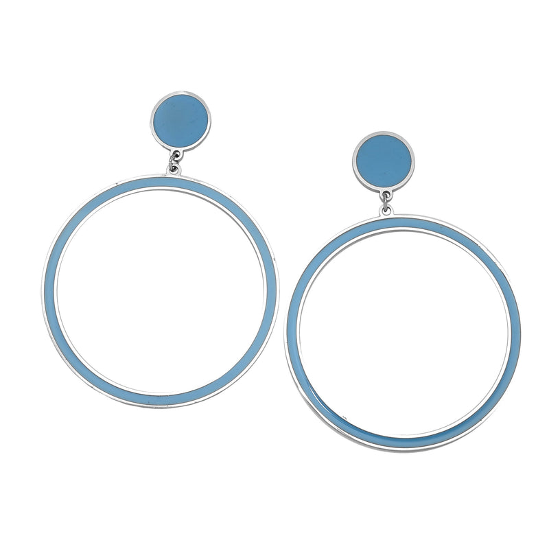 Orecchini Gipsy Color - Round Light Blue