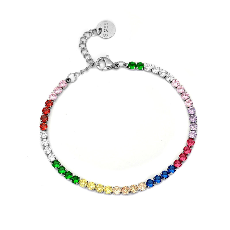 Bracciale Rainbow Tennis - Cristalli colorati