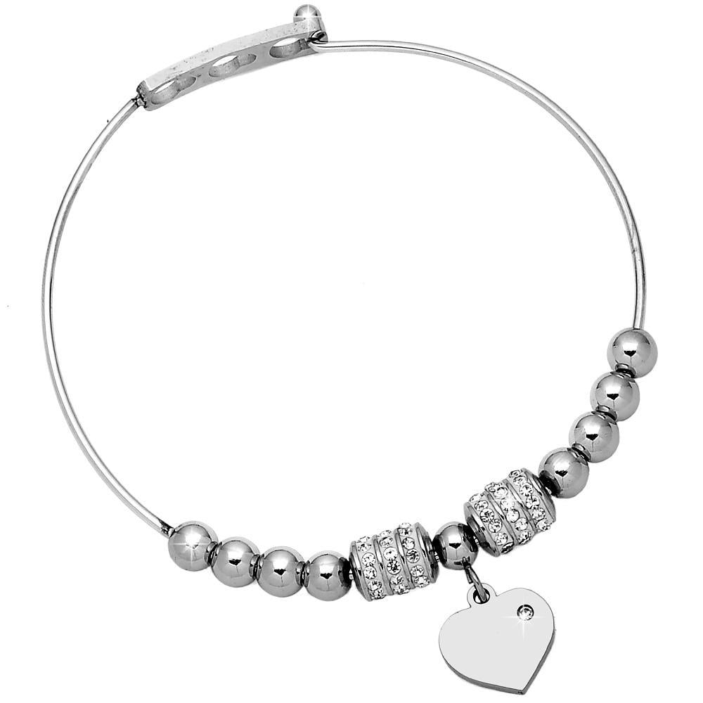 Bracciale bangle rigido con charm - Cuore - Beloved Gioielli