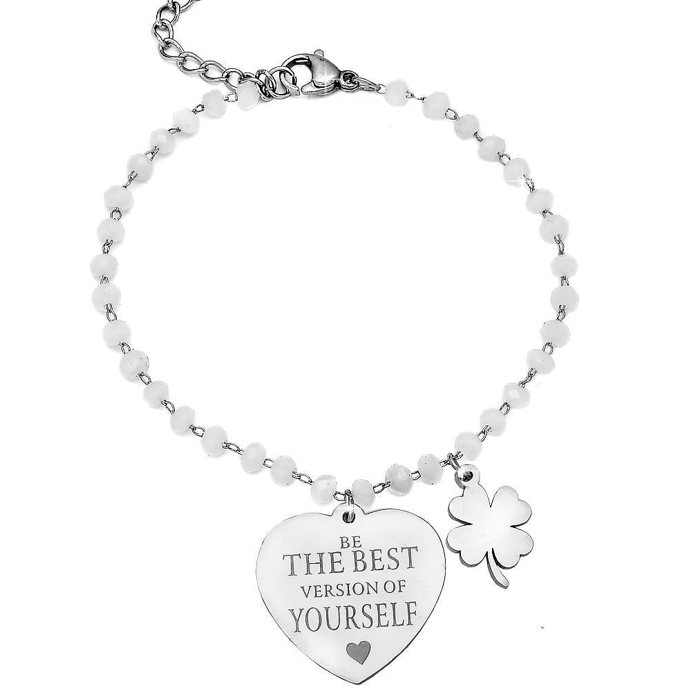 "Bracciale Cristalli Briolè bianchi con incisione - ""Be the best version of yourself"" - Beloved Gioielli"