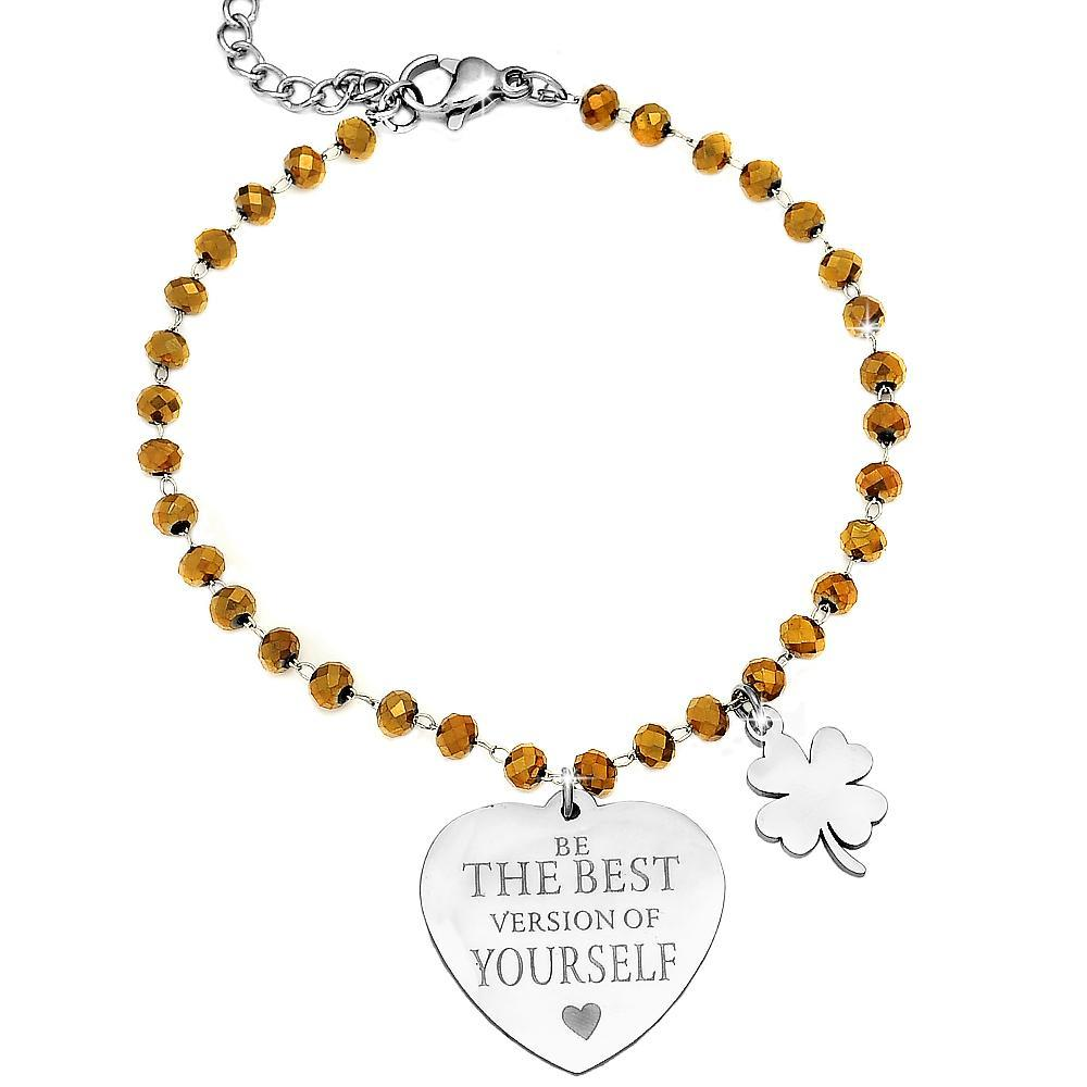 "Bracciale Cristalli Briolè gold con incisione - ""Be the best version of yourself"" - Beloved Gioielli"