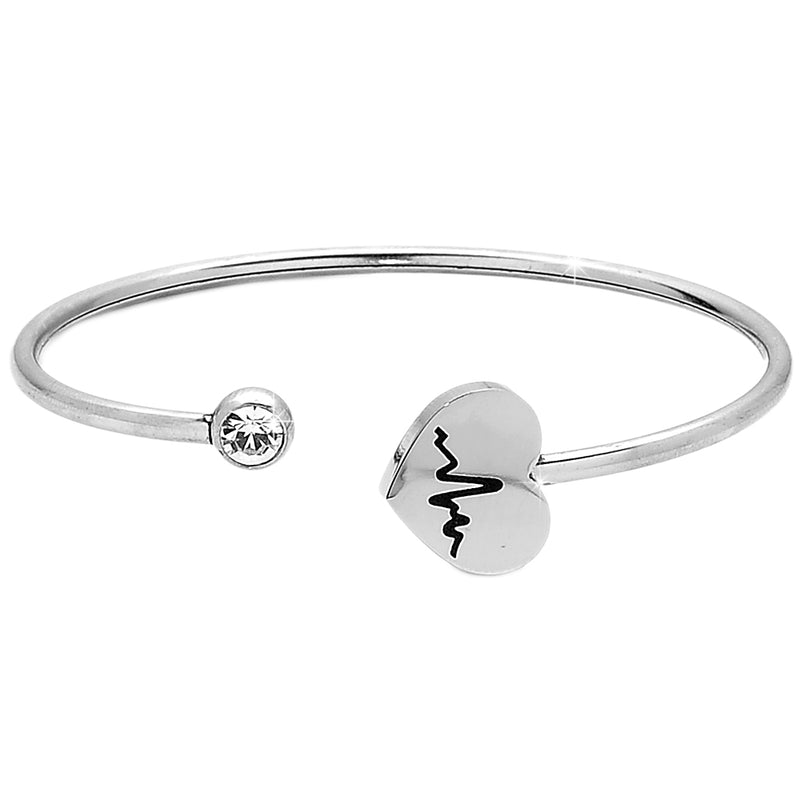 Bracciale Bangle Semirigido  - Cuore Heartbeat e Punto Luce - Beloved Gioielli