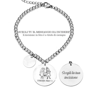 "Bracciale in acciaio inossidabile con incisione - ""Forever friends"" - Beloved Gioielli"