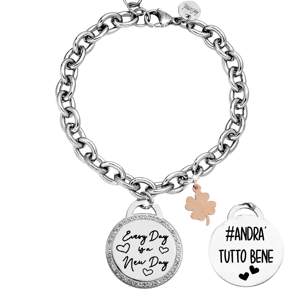"Bracciale groumette con doppia incisione - ""Every day is a new day"" - Beloved Gioielli"