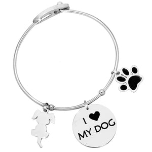"Bracciale rigido donna con charms e incisione - ""I love my dog"""