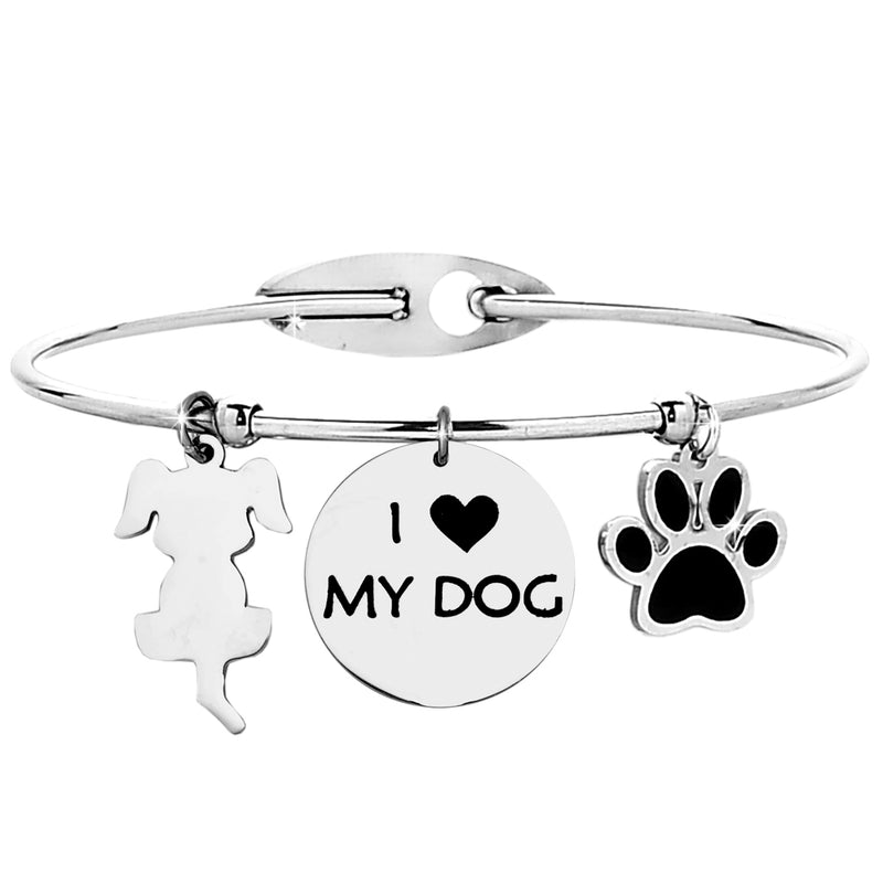 "Bracciale rigido donna con charms e incisione - ""I love my dog"" - Beloved Gioielli"