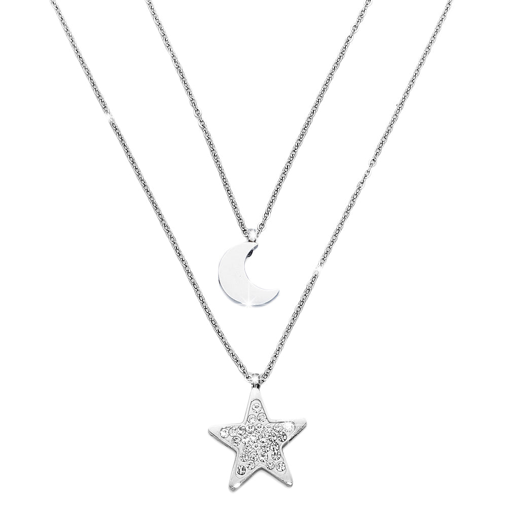 Collana donna girocollo doppio London con due Charms - LUNA e STELLA - Beloved Gioielli